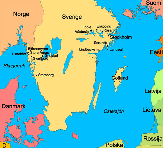 South Sweden and the countries around